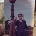Rijmke bij de vorige restauratie, 1991 op de toren!