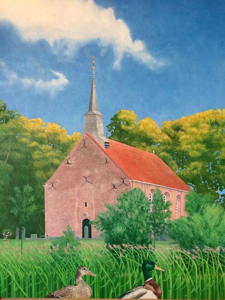 Mariakerk Oosterwijtwerd geschilderd door Janke Poortvliet