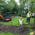restauratie: de gasleiding wordt aangelegd